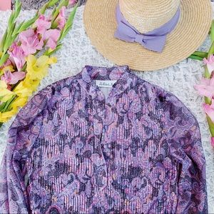 Vtg 70s Purple Paisley Pleated Button Blouse
